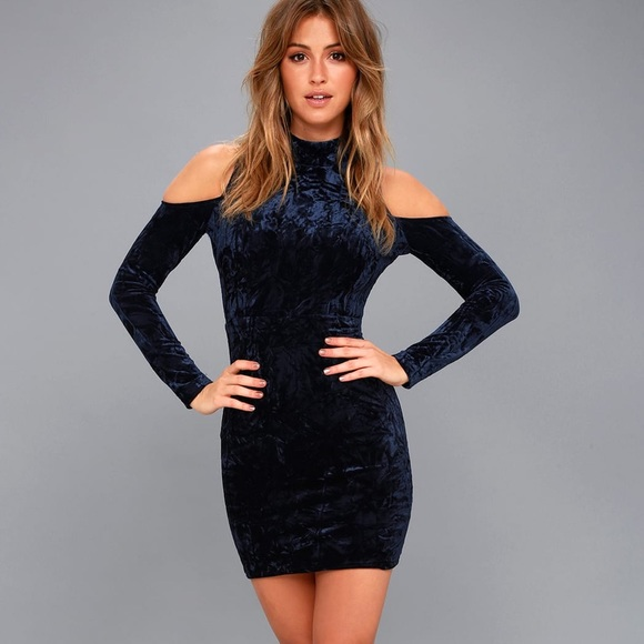 9bb5d5a59a Lulu's Dresses   Navy Blue Velvet Coldshoulder Bodycon Dress   Poshmark
